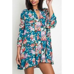Umgee Teal Floral Tunic
